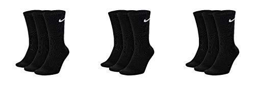 Nike 9 Paar Socken Herren Damen Weiß Grau Schwarz Tennissocken Sportsocken Sparset SX7664 Größe 34 36 38 40 42 44 46 48 50, Sockengröße:38-42, Farbe:schwarz/schwarz/schwarz