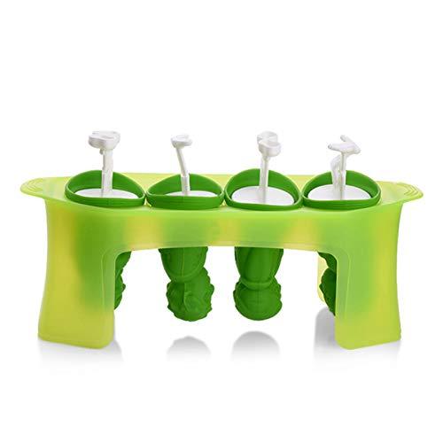 laoonl Moldes de hielo Lolly, juego de 4 moldes para hacer paletas con palos, silicona flexible, fácil de quitar, suministros de cocina sin BPA