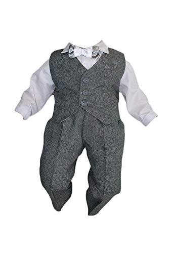 Taufanzug Baby Junge Kinder Kind Taufe Anzug Hochzeit Anzüge Festanzug, 4tlg, K14/3, Grau-Weiß, Gr.80