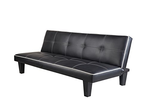 7 Star Furniture Click Clack faux leather Sofa Bed Black spare room or guest room bed Settee Sale