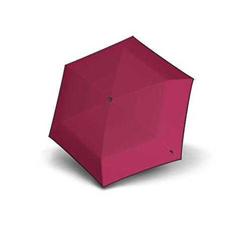 Knirps Unisex-Erwachsene Regenschirm Flat Duomatic Umbrella, Piping Burgundy, Einheitsgröße