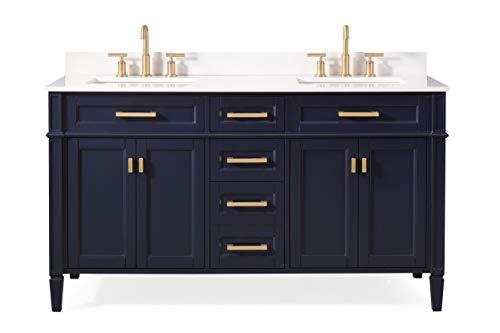 "60"" Durand Contemporary Modern Navy Blue Double Sink Bathroom Vanity 1808-D60NB"