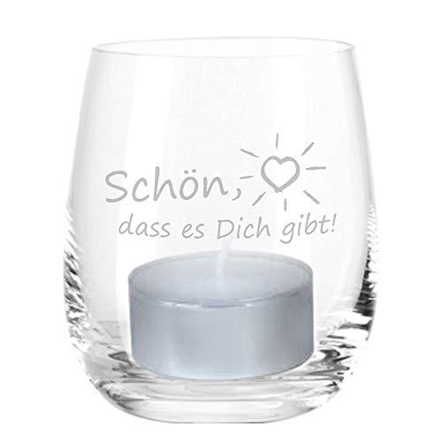 4you Design Leonardo Windlicht Schön, DASS es Dich gibt, Windlicht mit Spruch, Teelichtleuchter, Glaswindlicht, Geschenkidee, (Glas)