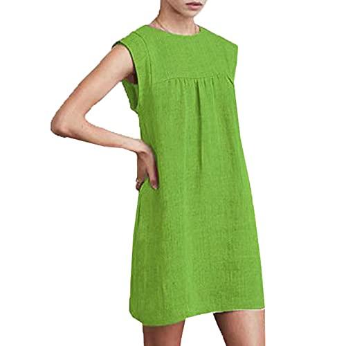 LaiYuTing Vrouwen zomer nieuwe ronde hals losse dames casual effen kleur jurk