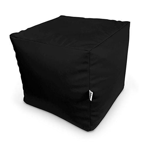 Natalia Spzoo® Pouf cube pour s'asseoir ou jouer, une repose-pied, ultra leger (noir)