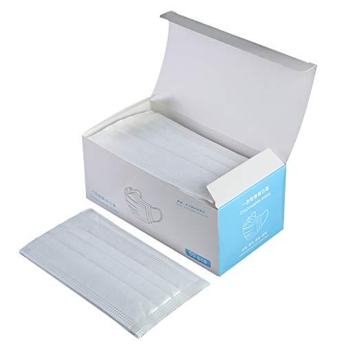 FENG 50x Mundschutz OP Mundschutz Einweg Maske mit Elastikband - 3-lagig, glasfaserfrei und latexfrei (Weiß)