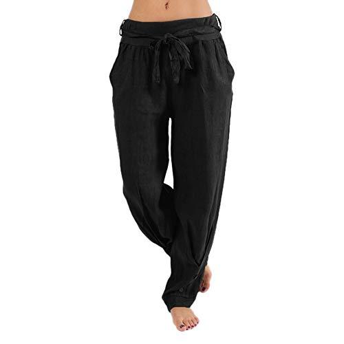 Paolian Pantalons décontractés pour Femmes Boutons de Ceinture élastiqués(S/M/L/XL/XXL/XXXL)