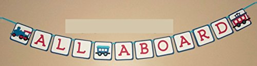 All Aboard Handmade Train Party Banner in red and blues