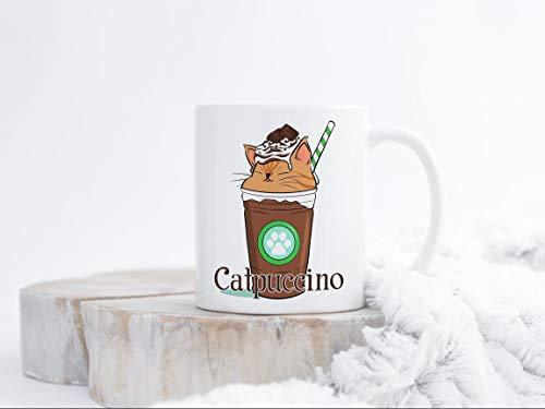 Alicert5II Catpuccino koffiemok 11oz beker 11oz beker grappige beker schattige kat beker ijskoffie cappuccino latte cat liefhebbers grappige kat geschenk voor moeder vrouw