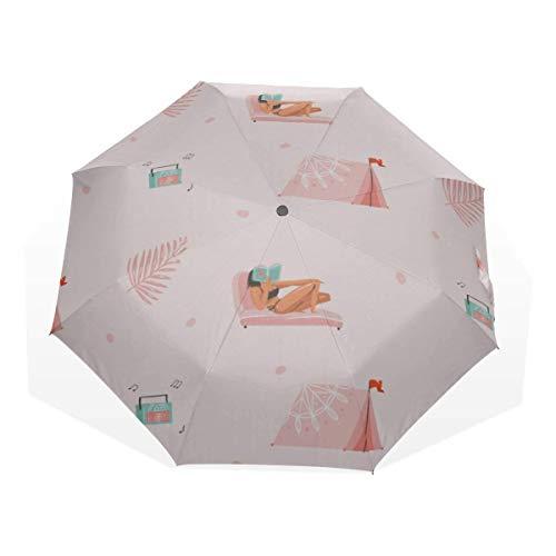WoBeautiful Mobile Home Tool Carpa Camping 3 Fold Art Umbrellas (Paraguas de...