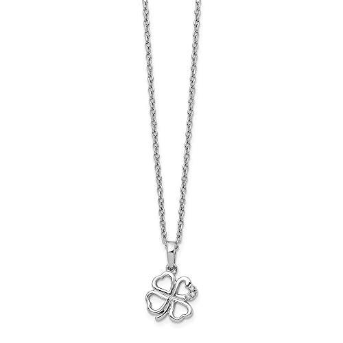 White Ice Diamant Clover Halskette–46cm