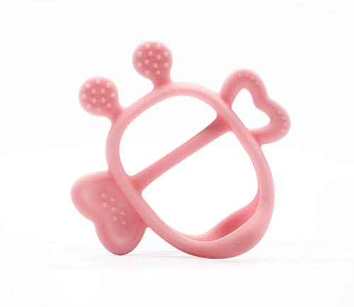 Mama's TEM Wearable Baby Teething Toys with Teether Handle, Eco-Friendly Non-Toxic BPA Free Pure Silicone, Easy to Clean Infant Toys, Newborn Baby Gift (Pink)