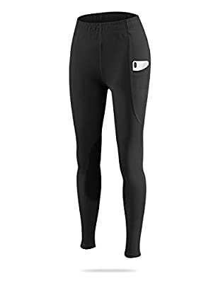 BALEAF Girls Riding Pants Equestrian Horse Kids Riding Breeches Tights Youth Knee-Patch Schooling Pocket UPF50+ Black M from Baleaf