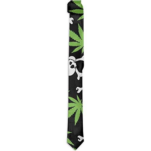Paedto Corbatas para hombre Accesorio para disfraz Marihuana Weed Skull Crossbones Corbata negra S Corbata de seda de moda S Corbata de novedad S para hombres Adolescentes Nios