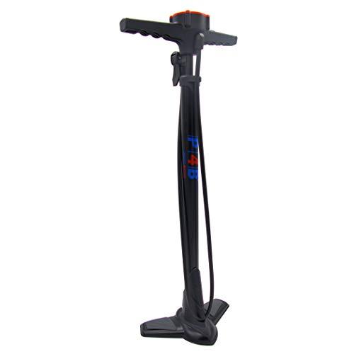 P4B | Pompa da terra per bicicletta per tutte le valvole | con manometro superiore | con ago e adattatore per materassi ad aria | Pompa ad alta pressione per DV/SV/AV