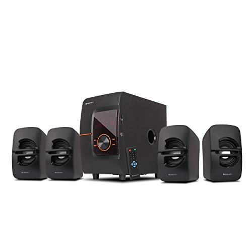 Zebronics Zeb-BT4444RUCF 4.1 Channel Home Theater Speaker with Subwoofer, Wireless Connectivity, USB Slot, AUX Jack, Built in FM Radio, Remote Control, LED Display