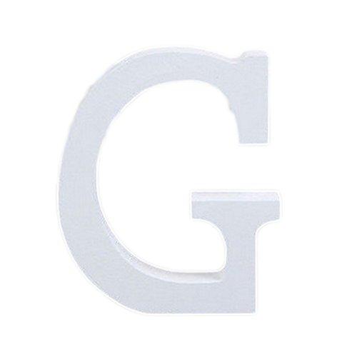 takestop® Lettere in Legno Bianco Lettera G Decorazione 11 Cm