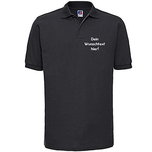 Shirt-Panda Herren Polo Shirt mit Wunschtext Wunschname · Linke Brust und oder Rücken Druck Men Personalisiert Personalisierbar Sprüche Hemd Anpassen Wunsch Schwarz 2XL