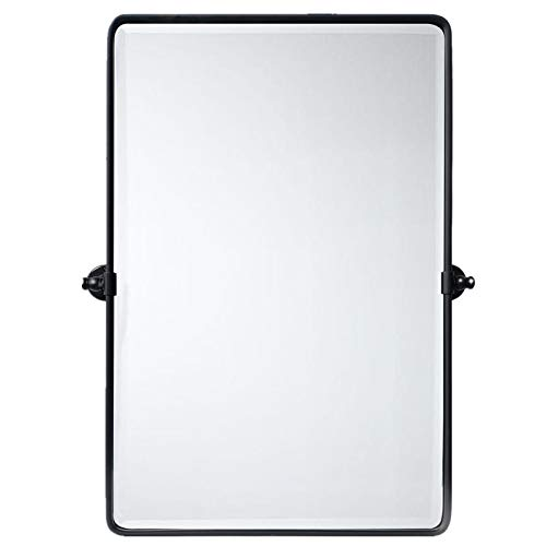TEHOME 27 x 35 inch Farmhouse Large Black Metal Framed Pivot Rectangle Bathroom Mirror Rounded Rectangluar Tilting Beveled Vanity Mirrors for Wall