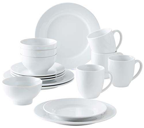 Kahla 57G104O90057C Dinnerware of 4 Pronto Porzellan Geschirrset Kombiservice 16-teilig Frühstückset für 4 Personen weiß ohne Muster Snackteller Speiseteller Müslischüssel Kaffeebecher