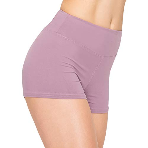 ALWAYS Women Workout Yoga Shorts - Premium Buttery Soft Solid Stretch Cheerleader Running Dance Volleyball Short Pants Lavender L
