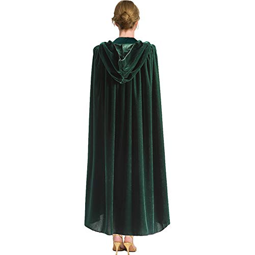 Halloween Hooded Cloak Ankle Length Green Velvet Cloak Cape for Halloween Cosplay Costume,59 inch