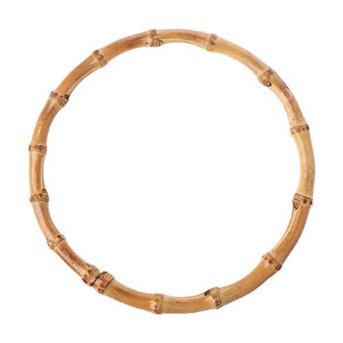SimpleLife - Bolsa de Madera de bambú con asa Redonda, Bolso Artesanal, Accesorios para Bolsas de Bricolaje, 15x15 cm