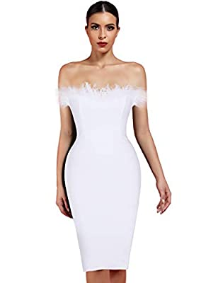 whoinshop Women's Sexy Off Shoulder Feather Bandage Evening Club Party Dress (M, White)