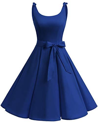 Bbonlinedress Vestidos de 1950 Estampado Vintage Retro Cóctel Rockabilly con Lazo
