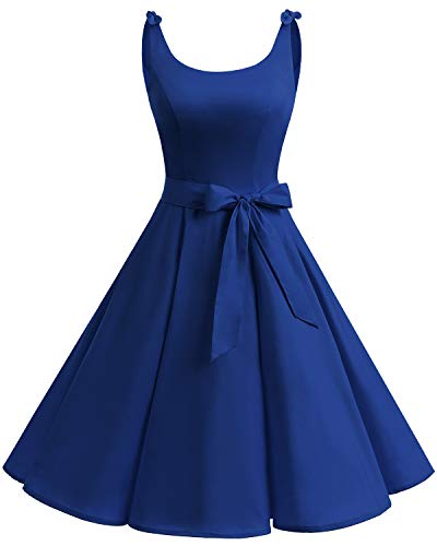 Bbonlinedress 1950er Vintage Polka Dots Pinup Retro Rockabilly Kleid Cocktailkleider Royalblue L