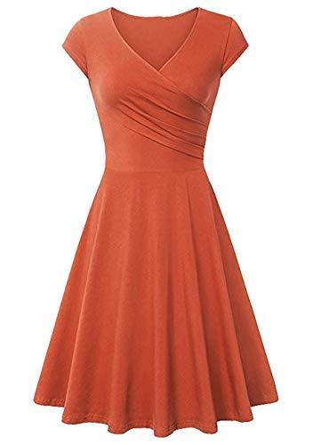 YMING Lady V Neck Party Dress Swing Hem Dress Taille Haute Dress Elegant Muticolor Dress Midi Dress Orange L