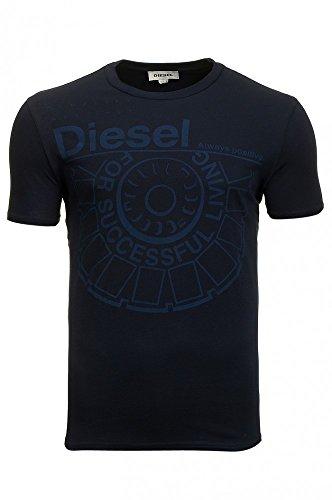 Diesel - Camiseta - Logotipo - Cuello redondo - para hombre Ballock (Large, azul oscuro)