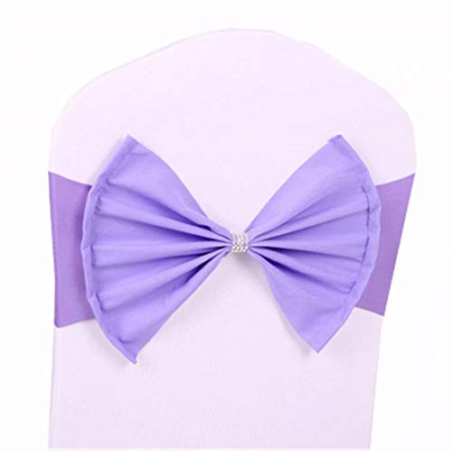 zhuluokeke 1/10/25/50 PCS Chair Sashes Bows for Wedding Birthday Spandex Chair Cover Bands Party Chair Ribbons for Baby Shower Banquet Christmas Thanksgiving Decorations Lavender 10 PCS