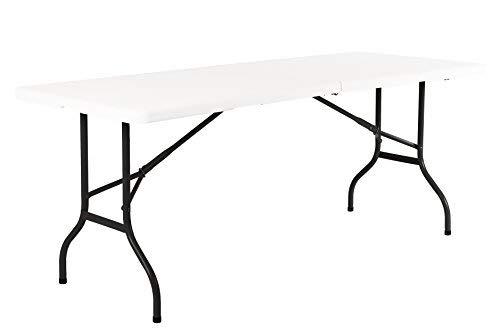 RESOL Easy Mesa Plegable 180x75 cm | Plástico Blanco y Acero | Mesa Jardín Multiusos Picnic Camping Catering Interior | Resistente - Fácil Mantenimiento y Almacenaje | hasta 8 Personas