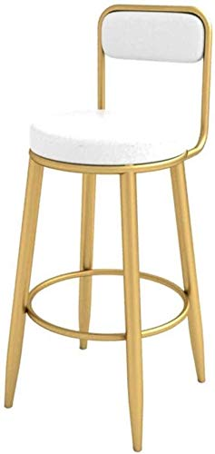 WWW-DENG barkruk hoge kruk bar hoge kruk met keuken rug goud metalen poten casual gevoerde eetkamerstoel PU-leer zitkussen maximale belasting 200kg barkruk
