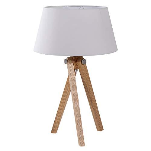 Elegante Tischleuchte TRIPOD 64cm weiß Retro Tischlampe Wohnzimmerlampe Beine aus Massivholz Dreibein