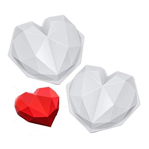YUDIZWS 2 pièces Diamond Heart Coeur Mousse Moule Coeur Géométrie Cuisson Silicone Cupcake Moule Mousse au Chocolat Mousse de Cuisson pour Chocolat, Brownie, Glace, Cheesecake, Fondant,Blanc