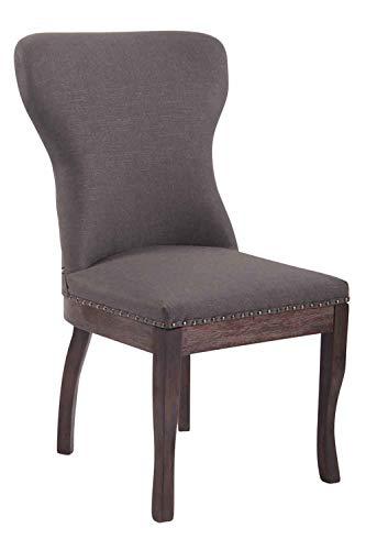 CLP Esszimmerstuhl Windsor mit Stoffbezug I Moderner Lehnstuhl mit Gestell aus Kautschukholz und Einer Sitzhöhe von 48 cm, Farbe:dunkelgrau