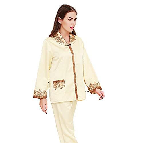 Accesorios de sala de estarPijamas de seda, pijamas de seda Trajes de homewear para mujer Dos piezas Solapa Línea doble Cintura elástica Sedoso Bolsillos dobles en ambos lados Protección portáti