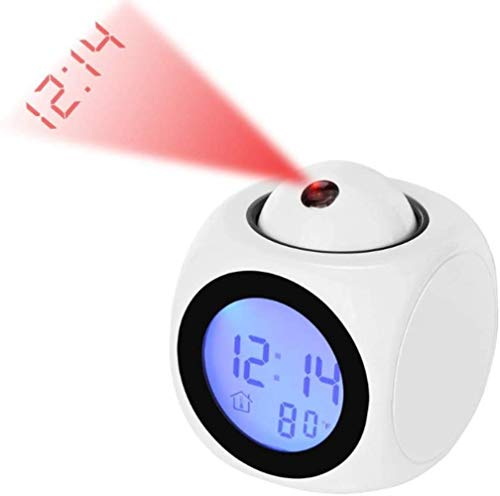 Multifuncional pequeño Reloj de Alarma, Alarma proyector de Pantalla Digital de Temperatura, la Voz Reloj de proyección de intercomunicación, de Noche LED Reloj, Blanco, Color: Negro (Color : White)