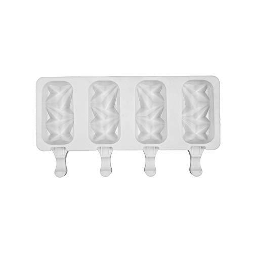 Eisformen Silikon, 4-Tassen-Eisform Mit Deckel Silikon Cartoon DIY EIS Am Stiel Form Zur Herstellung Von EIS, Schokoladenkuchen, 10.08 X 10.24 X 5.71 Zoll