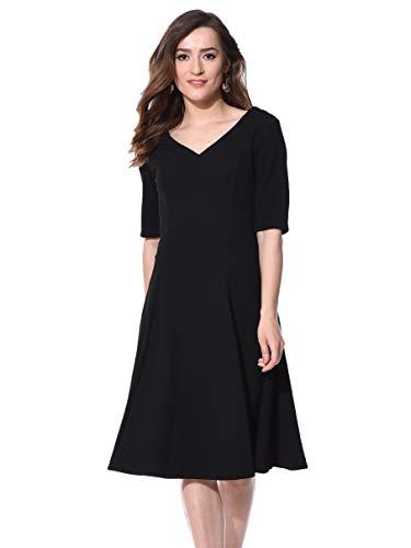 AARA Women's A-line Midi Dress (20160523_Black_XL)