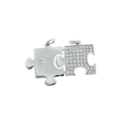 Colgante divisible puzzle con tarjeta con punto de luz y tarjeta de pavé de circonitas blancas chapado en oro blanco de plata de ley 925 hipoalergénica