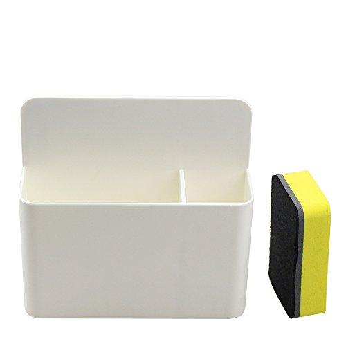 White Magnetic Marker Holder for Whiteboards,Magnetic Dry Eraser Organizer Mount Tray Rack,Fits 8 Dry-Erase Markers.Bonus 1 pcs Magnetic Whiteboard Eraser