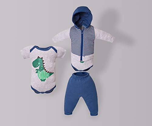 Conjunto De Body, Calça E Casaco Com Capuz, Mini ID, Azul Jeans, Médio