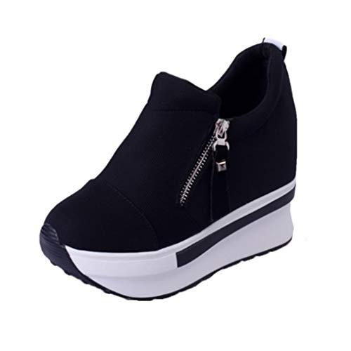 Zapatos de Plataforma con cuña para Mujer, tacón Alto de 7,5 CM con Cremallera, Zapatillas Informales Rojas y Negras Transpirables, Zapatos de Lona Que Aumentan la Altura