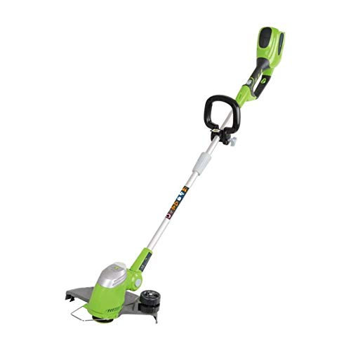 Greenworks Tools Tondeuse gazon à batterie G40LT (Li-Ion 40 V 30 cm largeur de coupe 7000 tr/min rotation de tête du moteur poignée supplémentaire télescopique sans batterie ni chargeur)