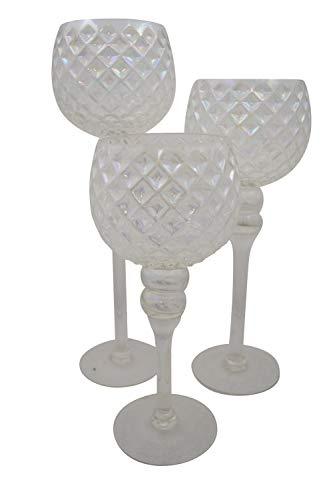 3tlg. Glaskelch Windlicht Set H40/35/30cm Waffeloptik - Weiß Kerzenhalter Kerzenleuchter Kerzenständer