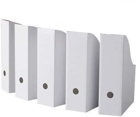 """Royal 20 White Magazine File Holders Storage Boxes 12 1/4""""H x 3 1/2""""W x 9 3/4""""D"""
