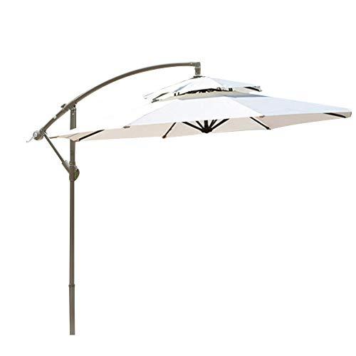 2.7m zonnescherm voor buiten Handige opbergtuinparaplu Anti-ultraviolette parasol Bananenparaplu Binnenparasol Reclame-paraplu Strandauto omgekeerde paraplu,White